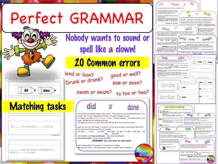 Teaching GRAMMAR Lesson Cards Correcting Common Grammar Mistakes