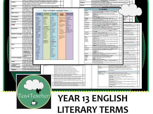 Language Terms for Secondary English - Y13