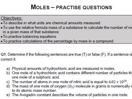 Moles - practice questions (GSCE) - PDF version