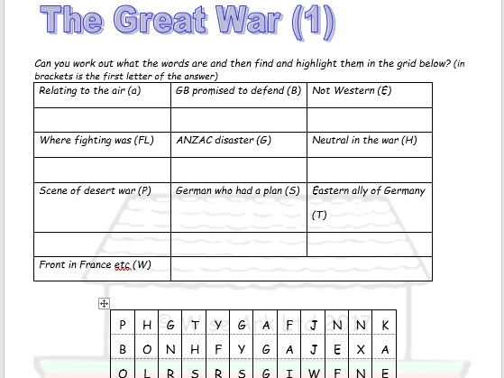 WW1 & WW2 word searches & quiz combined