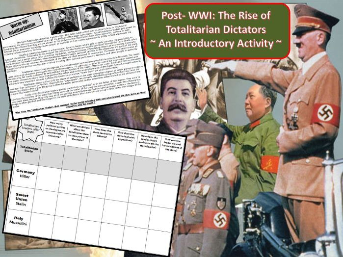 Post-WWI: Rise of Totalitarian Dictators ~ An Introductory Activity ~
