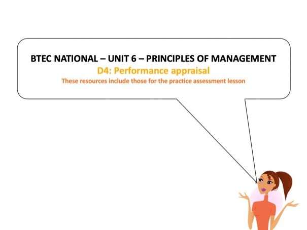 BTEC National - Business - Unit 6 – D4: Performance appraisal (inc LA: D practice assessment tasks)