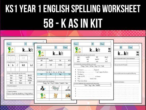 Spelling & Phonics Worksheet - k sound spelled K