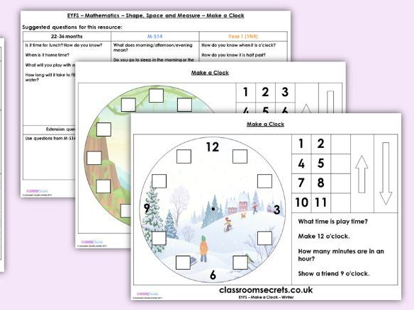 EYFS Make a Clock - Shape, Space and Measure, Resources & Observation Pack