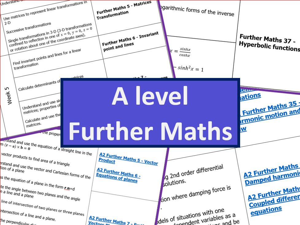 A level Further Mathematics Scheme of Work