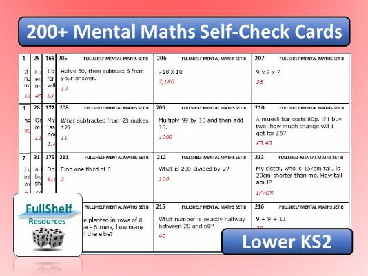 Mental Maths Cards KS2 Year 3 / 4
