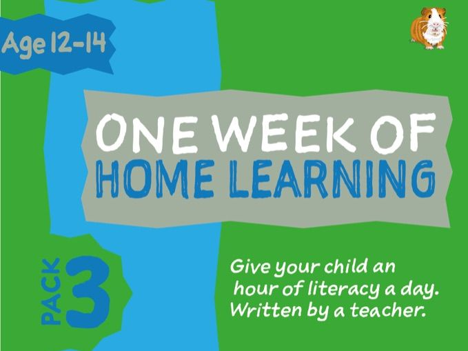1 WEEK Of Literacy Distance Learning: Pack THREE (age 12-14 years)