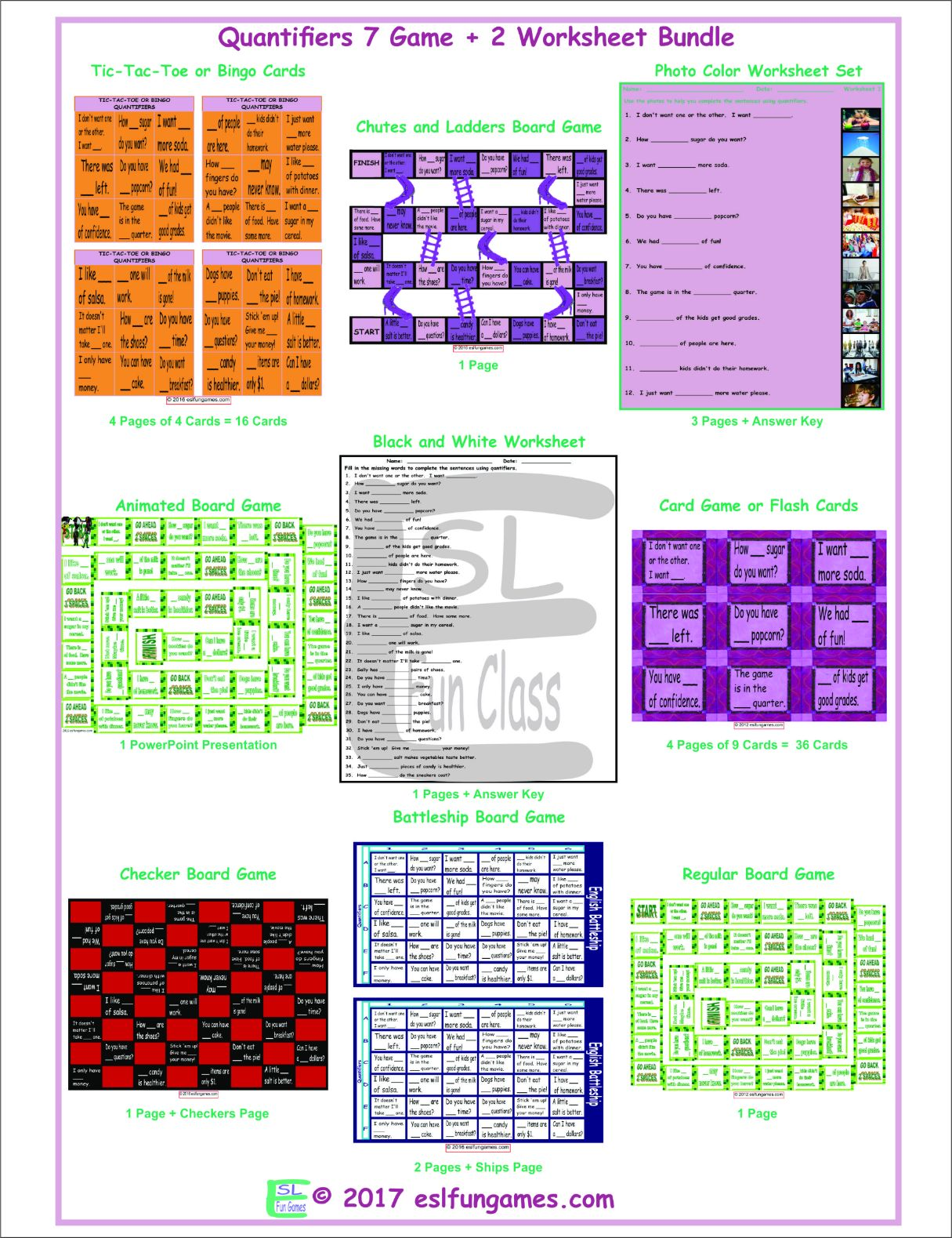 Quantifiers 7 Game Plus 2 Worksheet Bundle