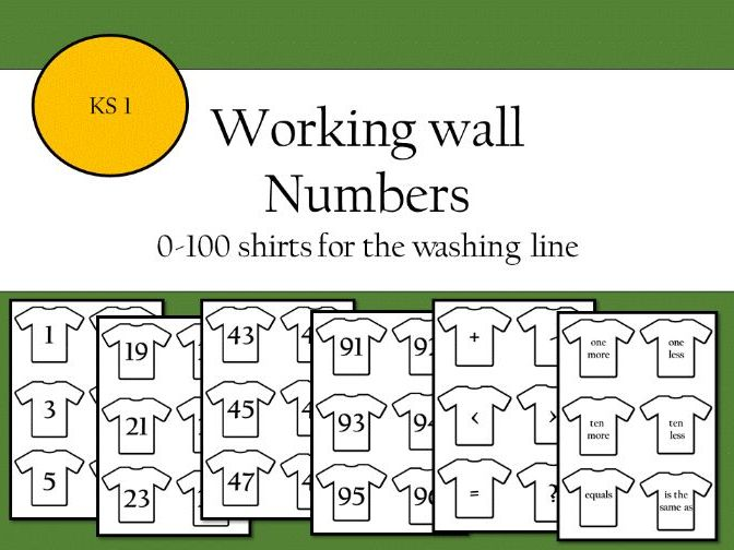 Working wall numbers 0-100