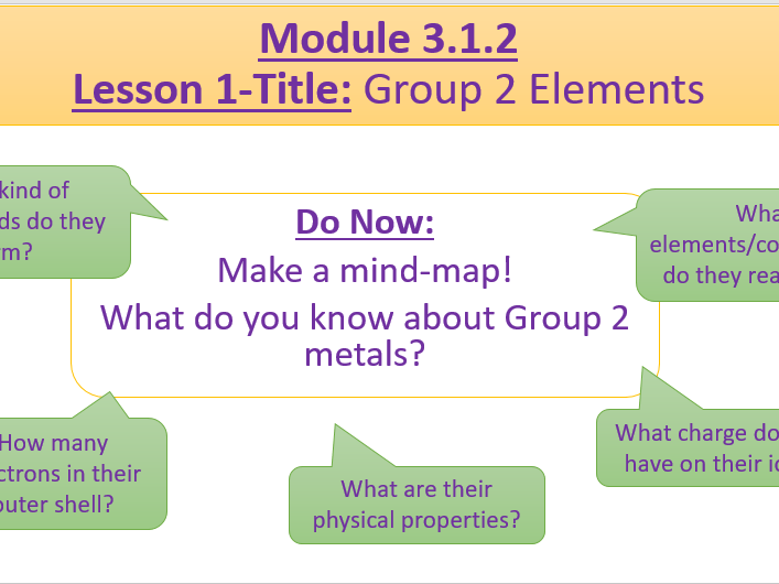 A Level Chemistry OCR A Module 3.1.2 Lesson 1- Group 2 Elements