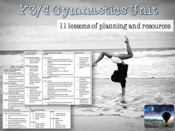 Y3/4 PE Gymnastics Unit - 11 Lessons