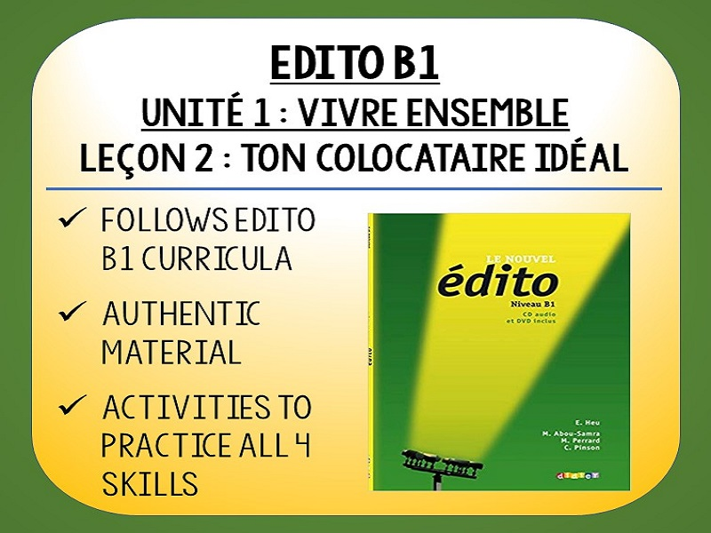 EDITO B1 - Unité 1 - Vivre Ensemble - L2