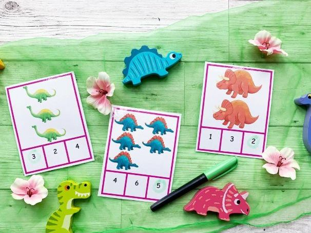Dinosaur Count and Match Cards