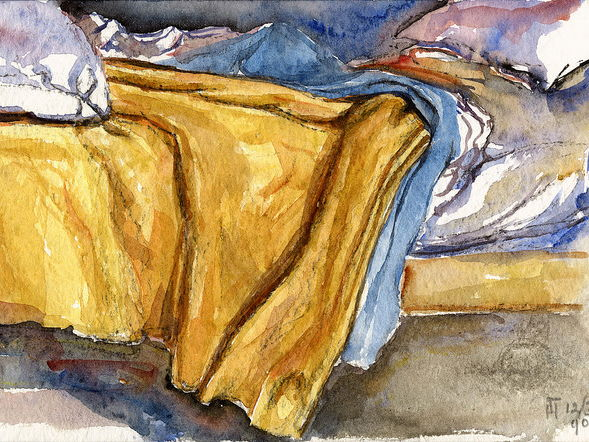 Colorful watercolor paintings 'My Bed in the Hospital' by artist Hubertine Heijermans; for everybody