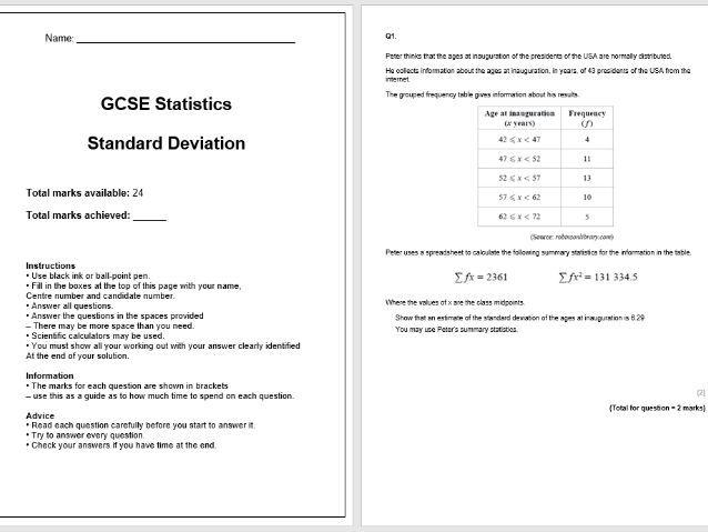Standard Deviation Exam Questions (GCSE Statistics)
