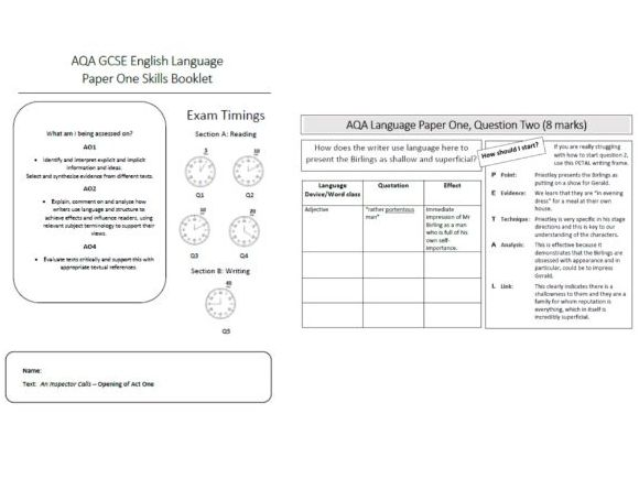 AQA An Inspector Calls - Language Paper 1 Skills Booklet