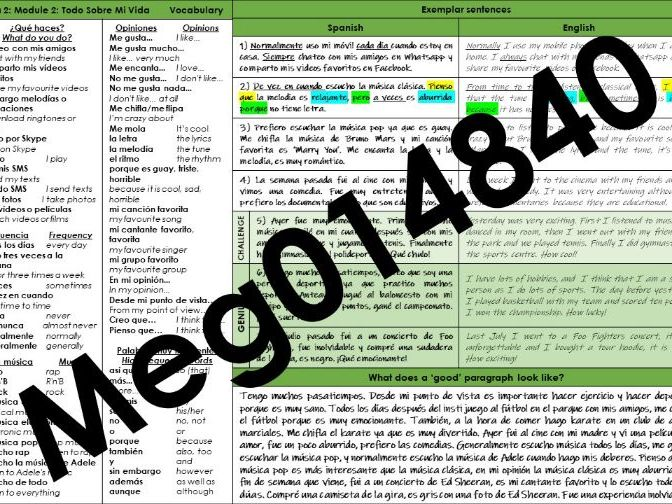 Viva 2: Module 2 Knowledge Organiser