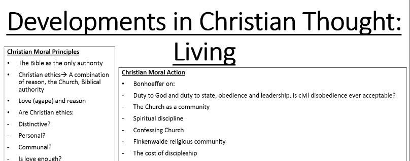 A Level Developments in Christian Thought OCR: Moral Principles and Living: Sequence of Lessons