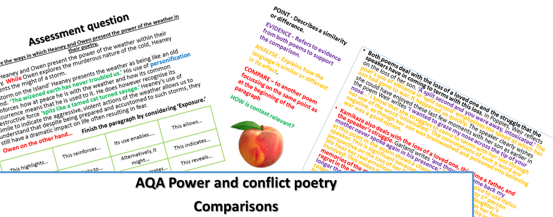 AQA power and conflict poetry Comparison bundle - new specification GCSE