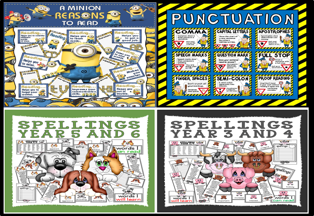 *BUNDLE* LITERACY ENGLISH RESOURCES KEY STAGE 2 SPELLINGS, PUNCTUATION AND READING