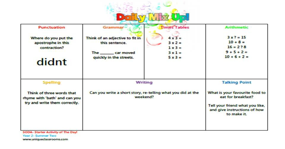 YEAR 2 - SODA -starter of the day activity, for the whole of Summer term 2