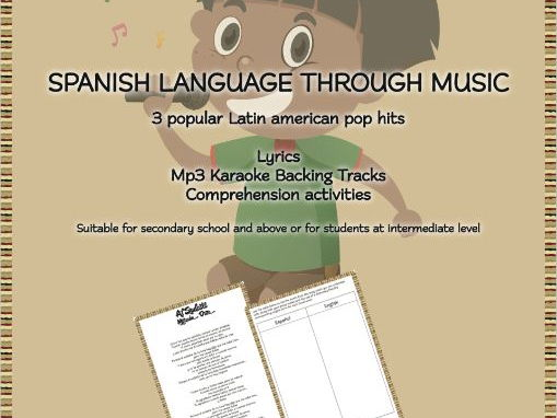 Spanish (Latin Pop) Song Activities : Lyrics|Mp3 Karaoke Tracks| Activity Sheets