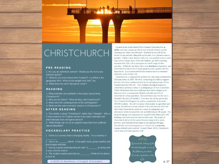 Christchurch - ESL / English Reading, Comprehension Check & Discussion