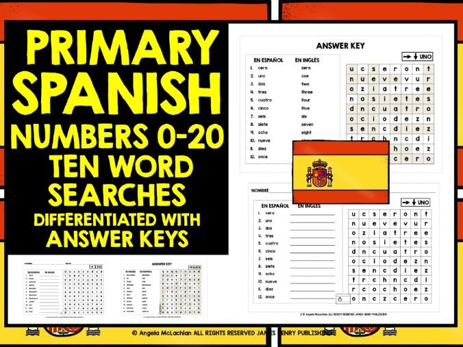 PRIMARY SPANISH NUMBERS 0-20 WORD SEARCHES