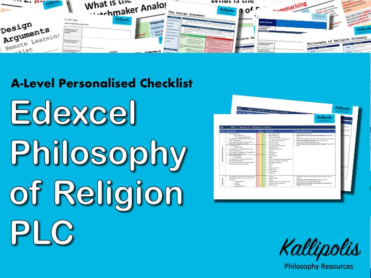 Edexcel KS5 Religious Studies: Unit 1 Philosophy of Religion - Personalised Learning Checklist (PLC)