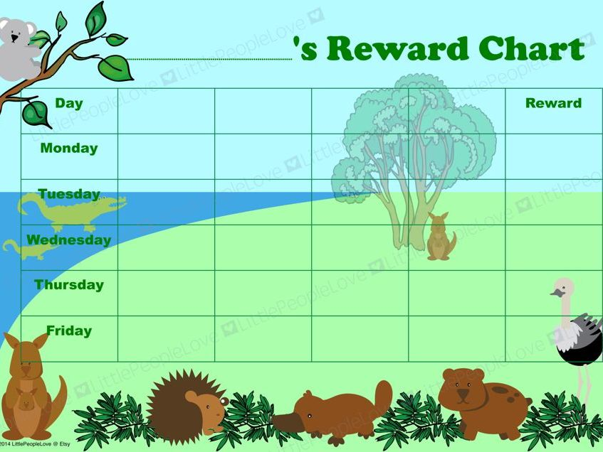 Reward Chart - Australian Animals