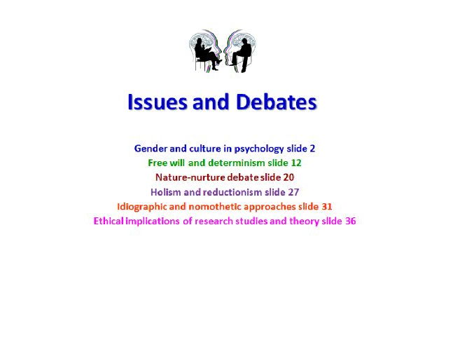 Issues and debates in psychology  AQA