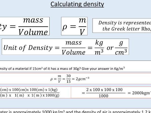 AQA GCSE Physics (4.3.1.1) Particle model - Density of materials