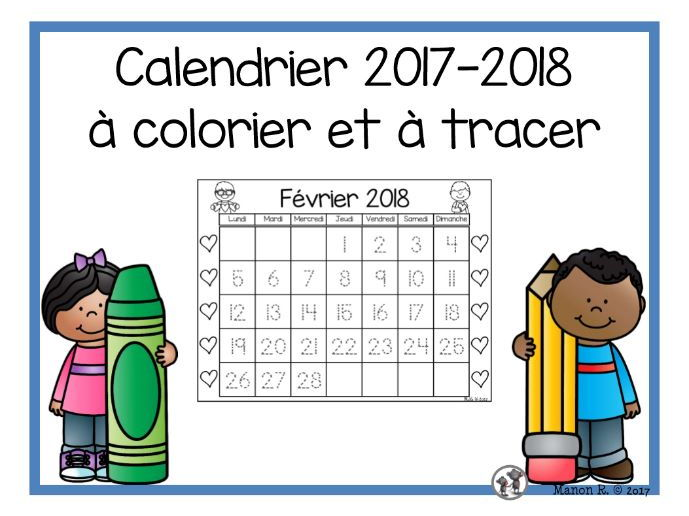 Calendrier 2017-2018 ( Trace and Color Calendar)