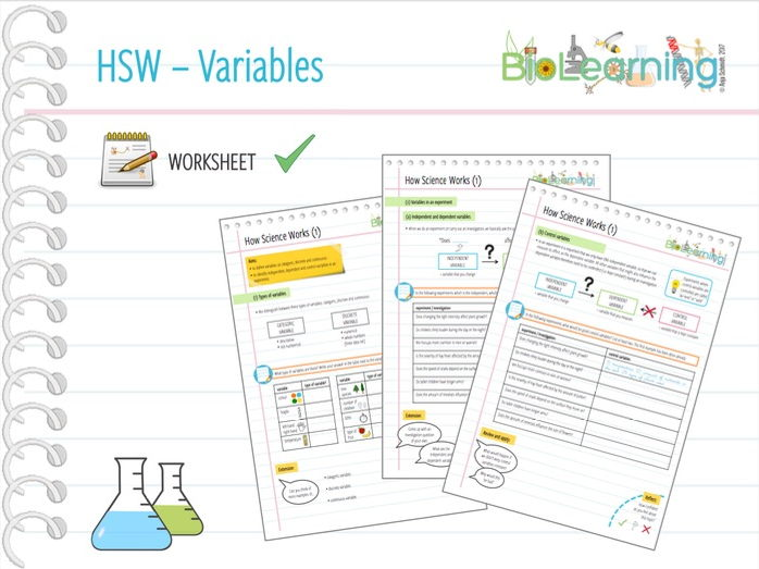 How Science Works (HSW) - Worksheet 1 (Variables) - KS3 / KS4