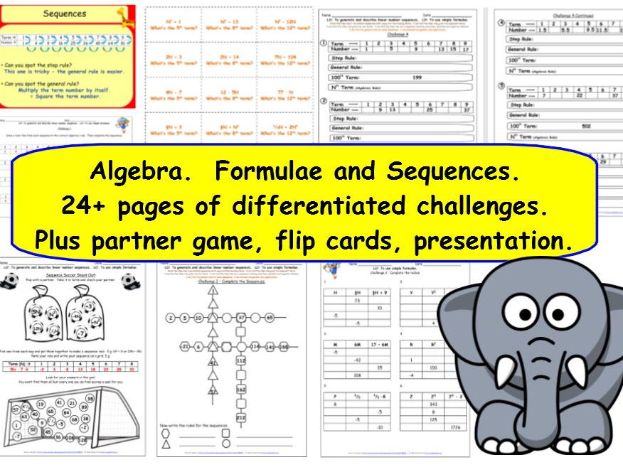 Algebra, Sequences and Formulae KS2 Y6  24+ pages of  differentiated challenges + presentation