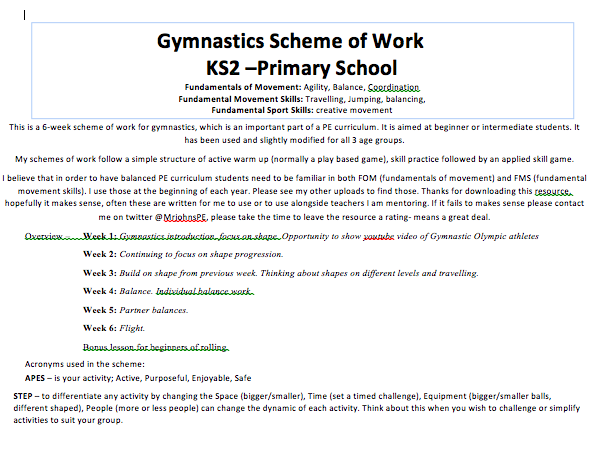 Gymnastics KS1 and KS2 6 week SOW