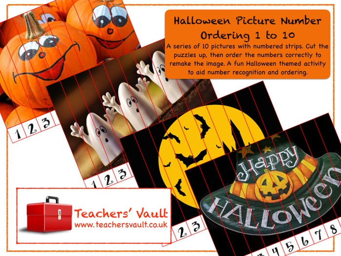 Halloween Picture Number Ordering 1 to 10