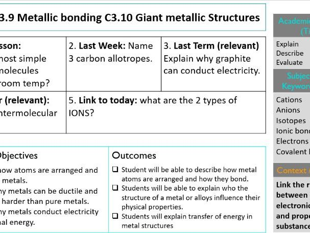 KS4 GCSE Metallic bonding and giant metallic structures