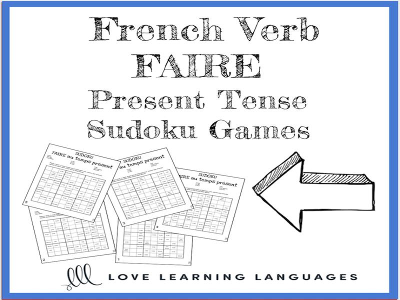 French verb faire present tense sudoku games - Le verbe faire au temps présent