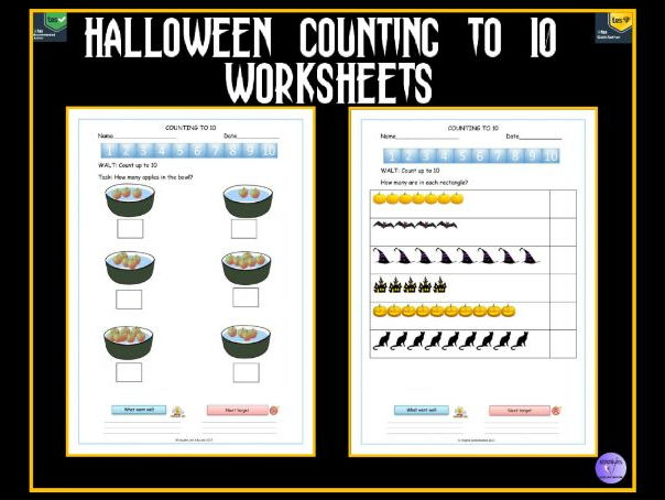 Halloween Themed Worksheets - Number Recognition and Counting To 10