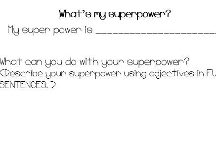 Create your own superpower (worksheet)