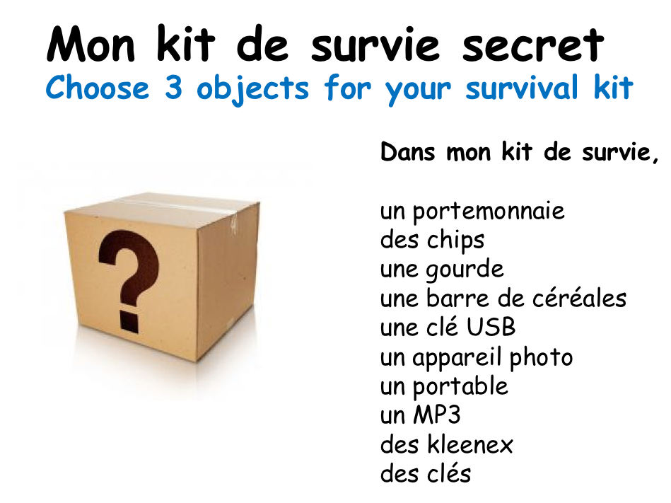 Mon kit de survie (My survival kit) - Year 7