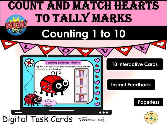 Valentines Day Counting 1 to 10 Ladybug Hearts and Tally Marks BOOM Cards Home Distance Learning