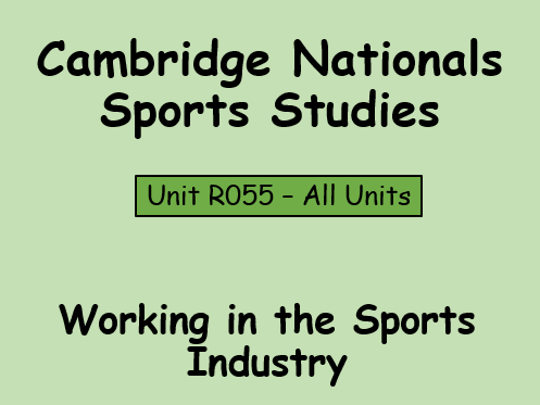 OCR-Sport Studies (R055) Working in the Sports Industry Resource Bundle