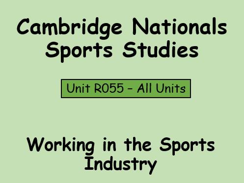 OCR-Sport Studies (R055) Working in the Sports Industry Resource Bundle