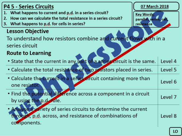 KS4 Physics AQA P4 5 Series Circuits PowerPoint (Non-editable)