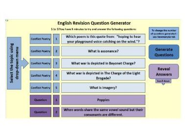 AQA Conflict Poetry:  100 Randomly Generated Questions