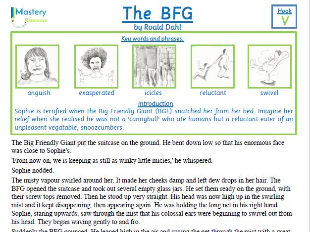 The BFG by Roald Dahl Comprehension KS2