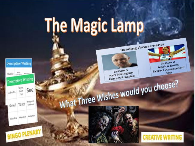 The Magic Lamp Creative Writing + Reading Assessments with Zombies!