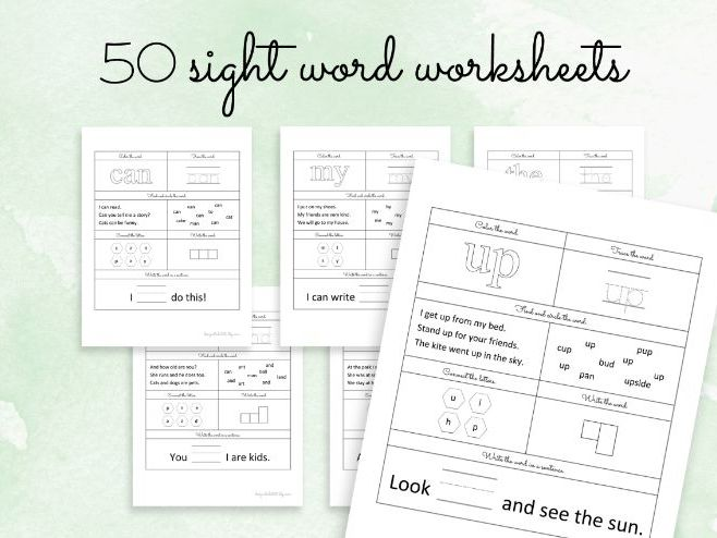 50 Sight Words Worksheets